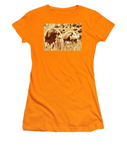 Women's T-Shirt (Junior Cut) featuring the photograph Simmental Bull 3 by Larry Campbell