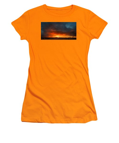 Women's T-Shirt (Junior Cut) featuring the photograph Sky On Fire by Rod Seel