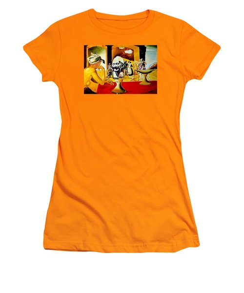 Women's T-Shirt (Junior Cut) featuring the painting Slave Market With The Invisible Bust Of Voltaire by Henryk Gorecki