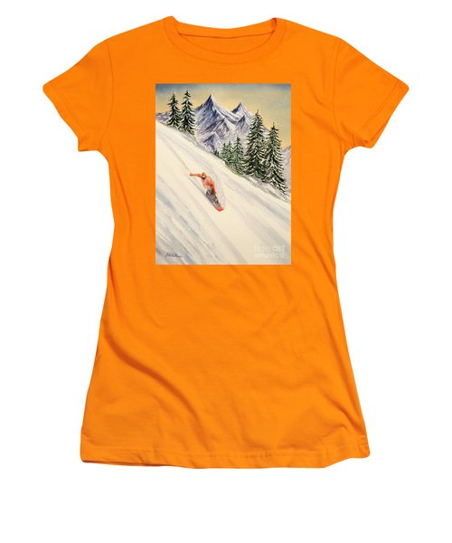 Women's T-Shirt (Athletic Fit) featuring the painting Snowboarding Free And Easy by Bill Holkham