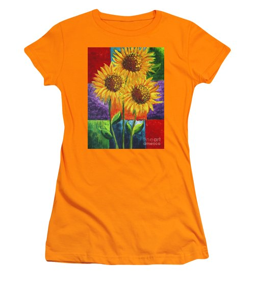 Women's T-Shirt (Junior Cut) featuring the painting Sonflowers I by Holly Carmichael