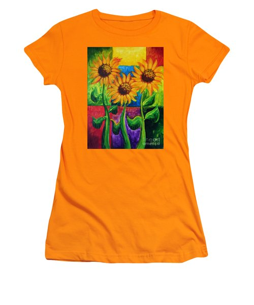 Women's T-Shirt (Junior Cut) featuring the painting Sonflowers II by Holly Carmichael
