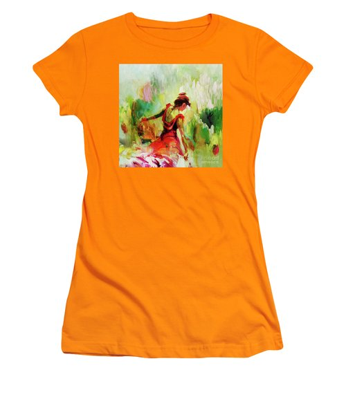 Women's T-Shirt (Junior Cut) featuring the painting Spanish Female Art 56y by Gull G