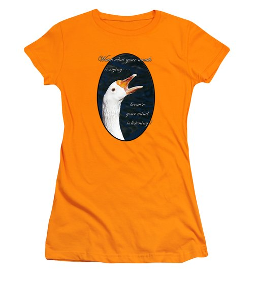 Speak Wisely Women's T-Shirt (Junior Cut) by Phyllis Denton