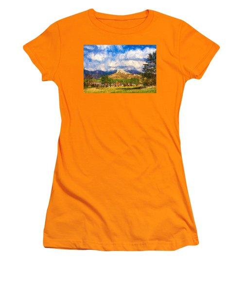 Castle Above The Village Women's T-Shirt (Athletic Fit)