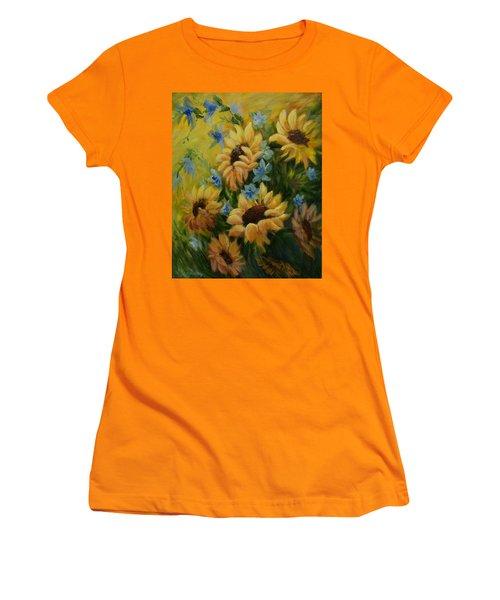 Sunflowers Galore Women's T-Shirt (Junior Cut) by Joanne Smoley