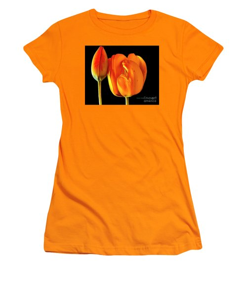 Spring Tulips V Women's T-Shirt (Athletic Fit)