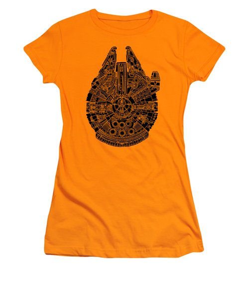 Star Wars Art - Millennium Falcon - Black Women's T-Shirt (Athletic Fit)