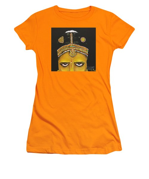 Women's T-Shirt (Junior Cut) featuring the painting Stare by Brindha Naveen