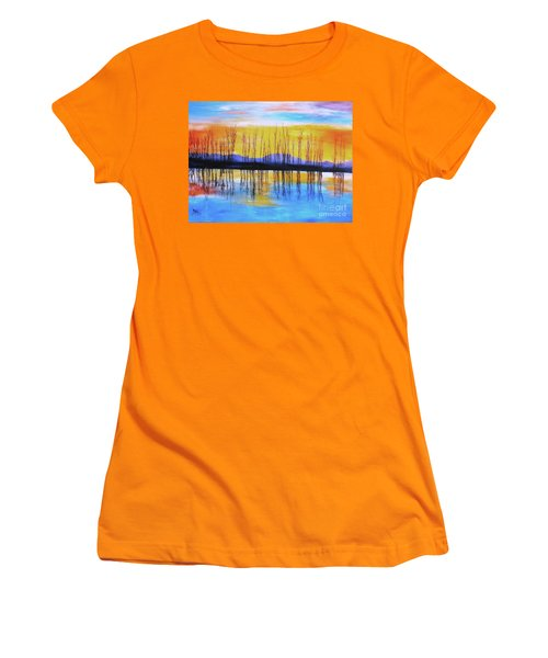 Women's T-Shirt (Junior Cut) featuring the painting Still Waters From The Water Series  by Donna Dixon