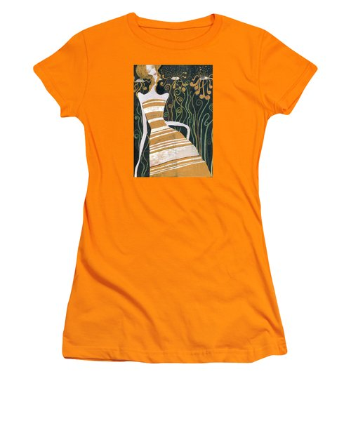 Women's T-Shirt (Junior Cut) featuring the painting Stripe Dress by Maya Manolova