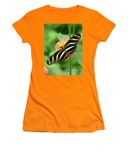 Striped Butterfly Women's T-Shirt (Athletic Fit)