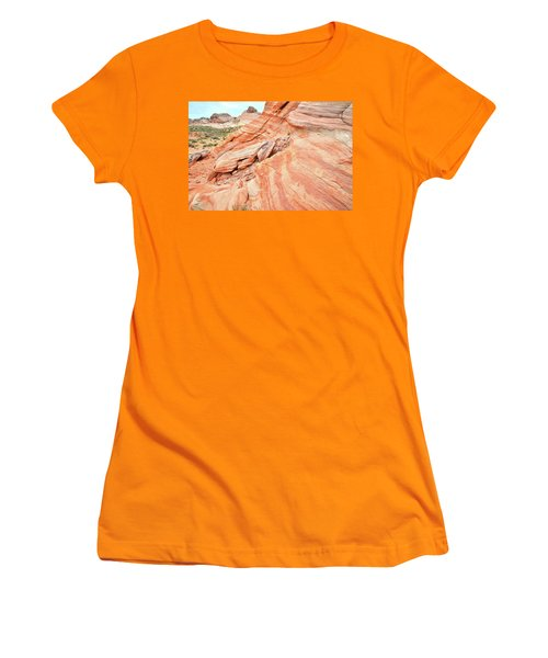 Women's T-Shirt (Junior Cut) featuring the photograph Striped Sandstone Along Park Road In Valley Of Fire by Ray Mathis