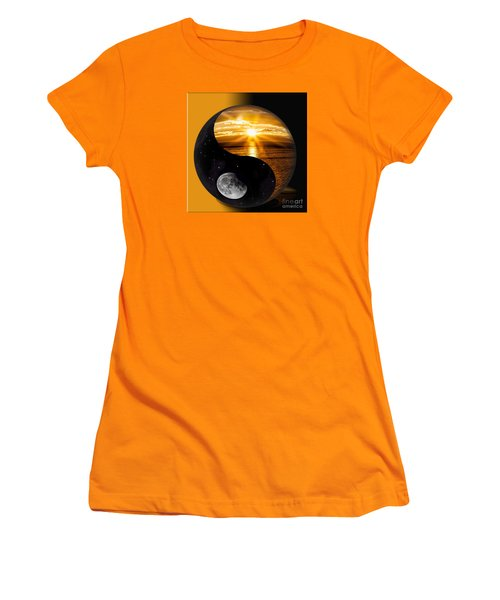 Women's T-Shirt (Junior Cut) featuring the photograph Sun And Moon - Yin And Yang by Shirley Mangini