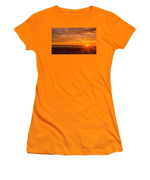 Sun Rising At Port Aransas Pier Women's T-Shirt (Athletic Fit)