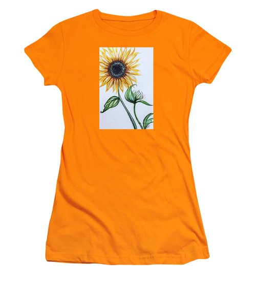 Women's T-Shirt (Junior Cut) featuring the painting Sunflower Botanical by Elizabeth Robinette Tyndall