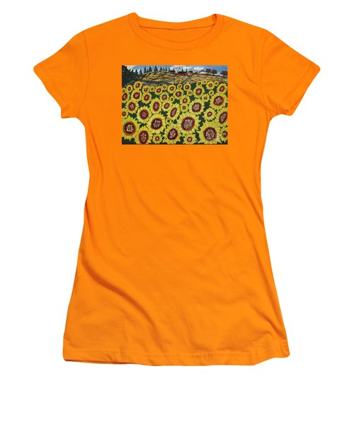 Sunflower Fields  Forever Women's T-Shirt (Athletic Fit)