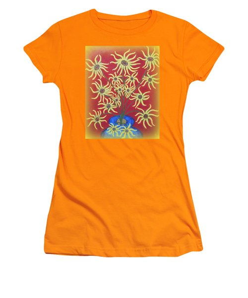 Sunflowers In A Blue Vase Women's T-Shirt (Athletic Fit)