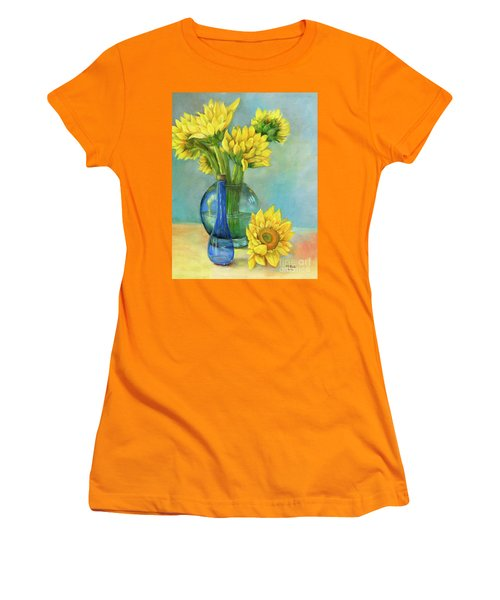 Women's T-Shirt (Athletic Fit) featuring the painting Sunflowers In A Glass Vase Number Two by Marlene Book