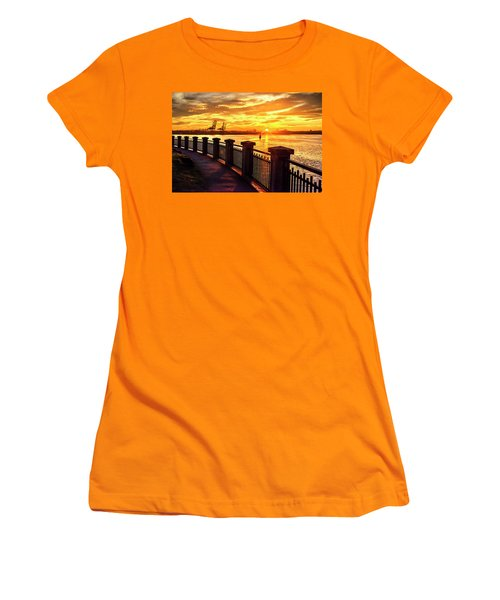 Women's T-Shirt (Athletic Fit) featuring the photograph Sunrise At The Harbor by John Poon
