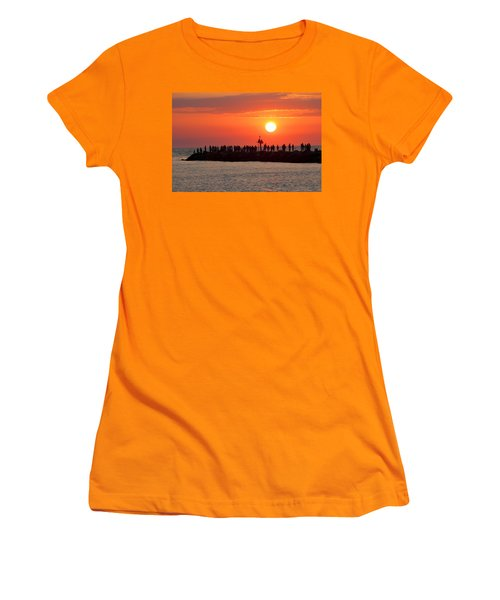 Sunset At The South Jetty, Venice, Florida, Usa Women's T-Shirt (Athletic Fit)
