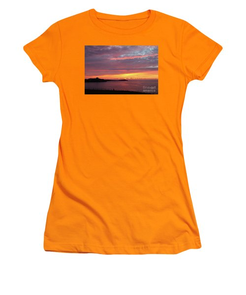 Women's T-Shirt (Junior Cut) featuring the photograph Sunset Clouds In Newquay Cornwall by Nicholas Burningham