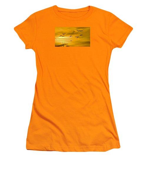 Sunset Fliers Women's T-Shirt (Junior Cut) by Wanda Krack