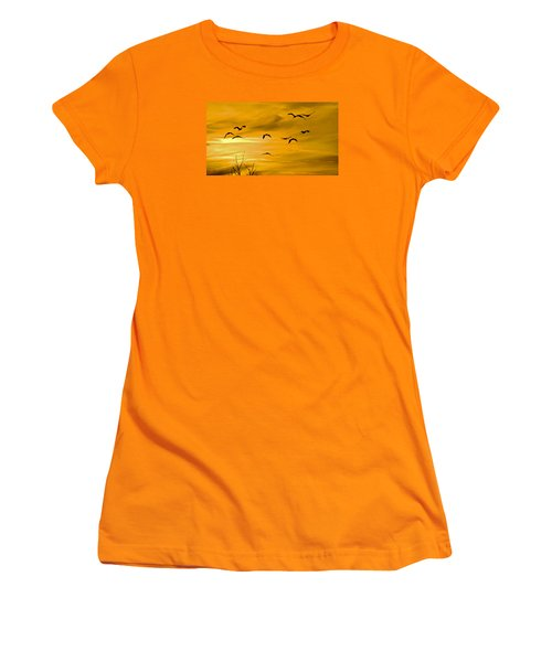 Women's T-Shirt (Athletic Fit) featuring the photograph Sunset Fliers by Wanda Krack