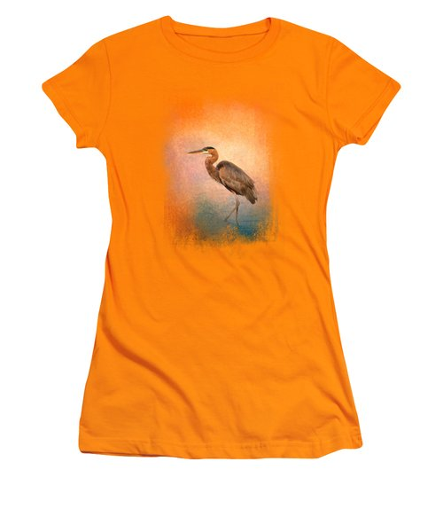 Sunset Heron Women's T-Shirt (Junior Cut) by Jai Johnson