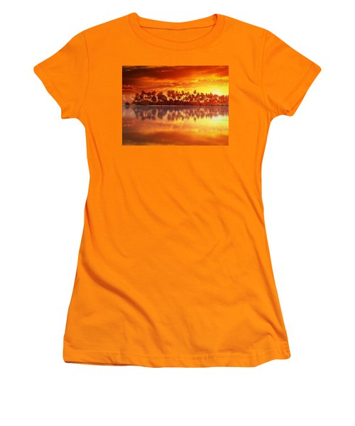 Women's T-Shirt (Junior Cut) featuring the mixed media Sunset In Paradise by Gabriella Weninger - David