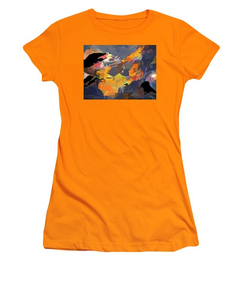 Women's T-Shirt (Athletic Fit) featuring the mixed media Sunset Of The Gods 4 by Lynda Lehmann