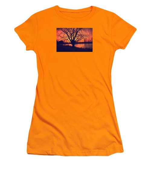 Sunset On Willow Pond Women's T-Shirt (Junior Cut) by Kathy M Krause