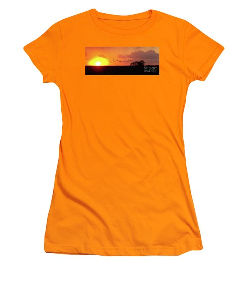 Sunset Over Easy Women's T-Shirt (Junior Cut) by Sue Stefanowicz