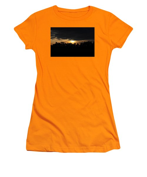 Sunset Over Farm And Trees - Silhouette View  Women's T-Shirt (Athletic Fit)