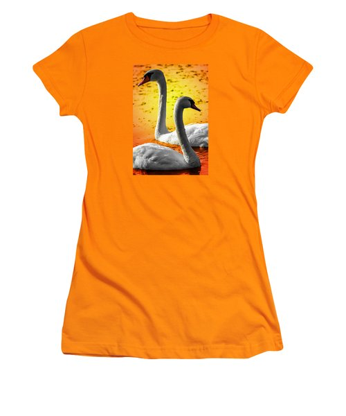 Sunset Swans 2 Women's T-Shirt (Athletic Fit)