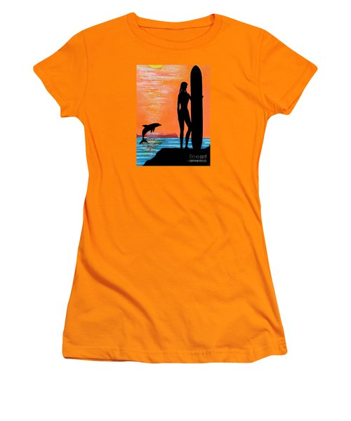 Surfer Girl With Dolphin Women's T-Shirt (Athletic Fit)
