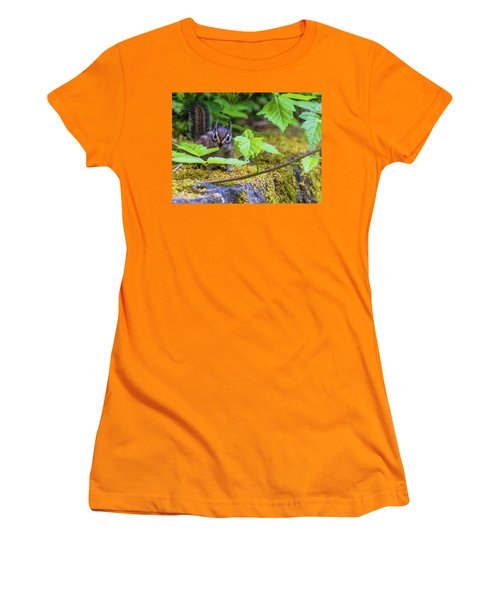 Women's T-Shirt (Athletic Fit) featuring the photograph Surprised Chipmunk by Jonny D