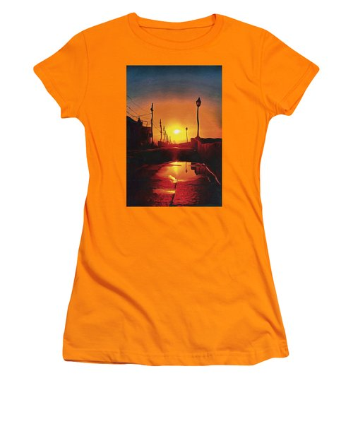 Surreal Cityscape Sunset Women's T-Shirt (Junior Cut) by Anton Kalinichev