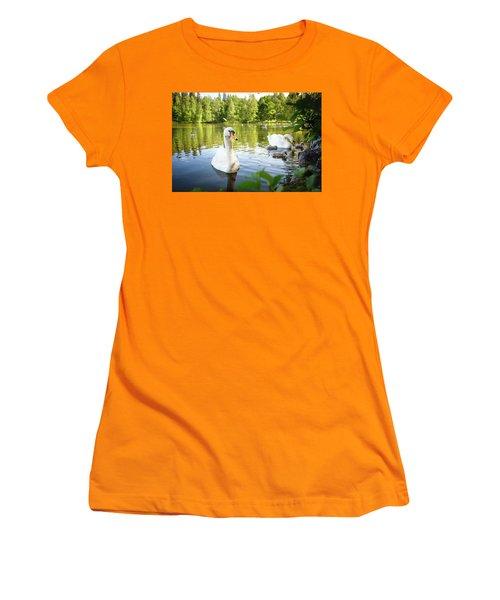 Swans With Chicks Women's T-Shirt (Junior Cut) by Teemu Tretjakov