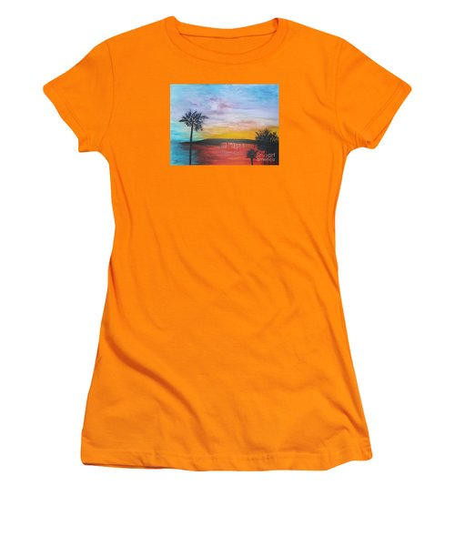 Women's T-Shirt (Junior Cut) featuring the painting Table On The Beach From The Water Series by Donna Dixon