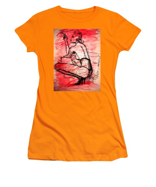 Women's T-Shirt (Athletic Fit) featuring the painting Take Five  by Jarko Aka Lui Grande