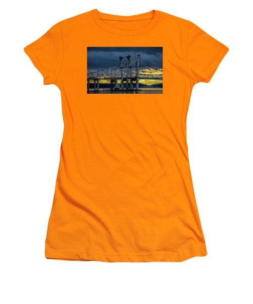Tale Of 2 Bridges At Sunset Women's T-Shirt (Junior Cut) by Jeffrey Friedkin