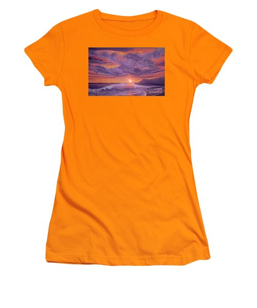 Women's T-Shirt (Junior Cut) featuring the painting Tangerine Sky by Holly Martinson