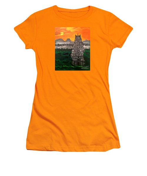 Women's T-Shirt (Junior Cut) featuring the painting Temple Near The Hills by Brindha Naveen