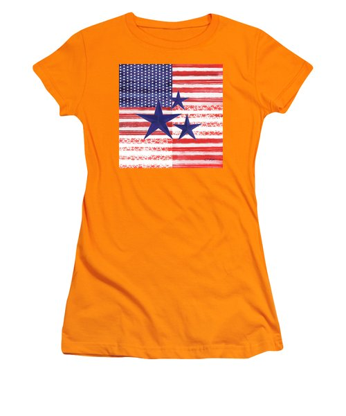 Women's T-Shirt (Junior Cut) featuring the photograph The Americana Flag by Colleen Taylor