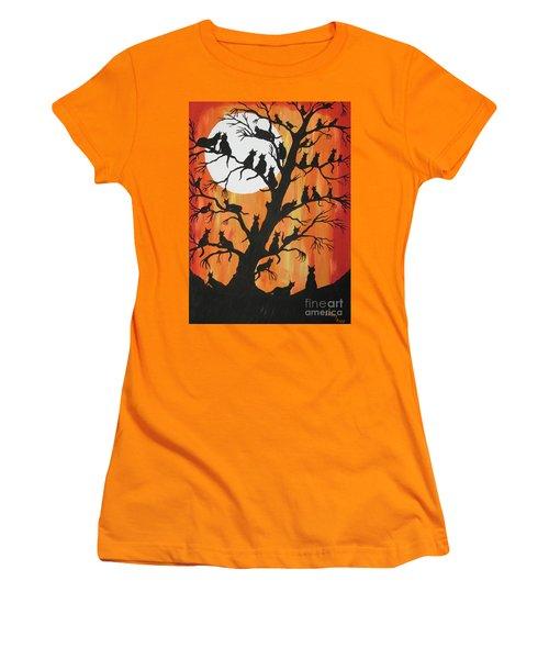 The Cats On Night Watch Women's T-Shirt (Junior Cut) by Jeffrey Koss