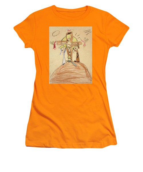 Women's T-Shirt (Athletic Fit) featuring the drawing The Crucifixion By Fr. Bill At Age 5 by William Hart McNichols