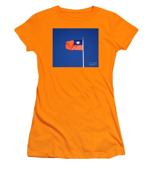Women's T-Shirt (Athletic Fit) featuring the photograph The Flag Of Taiwan by Yali Shi