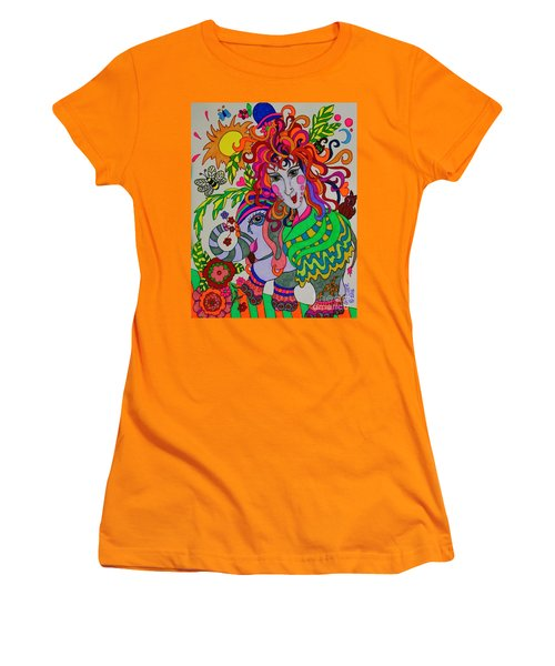 The Girl And The Elephant Women's T-Shirt (Athletic Fit)