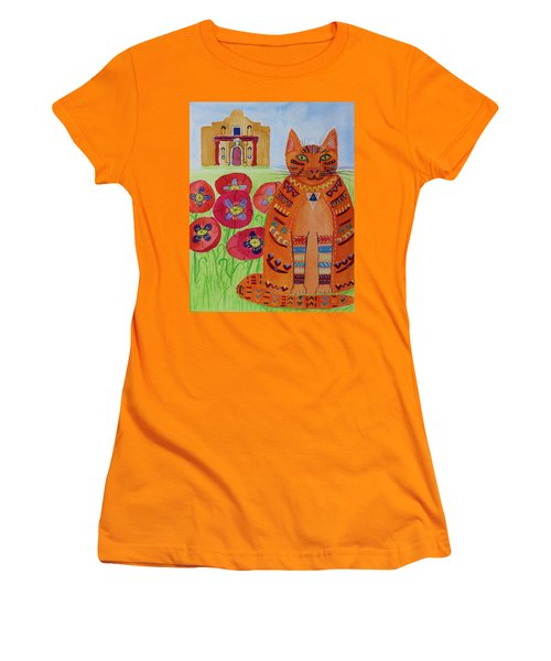 the Orange Alamo Cat Women's T-Shirt (Athletic Fit)